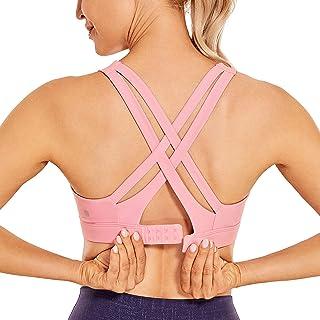 CRZ YOGA Women's Sexy Strappy Sports Bras Hook-and-Eye Closure Wireless Padded Workout Yoga Bra Tops