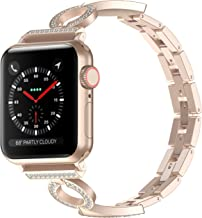 Glebo Bling Bands Compatible Apple Watch Band 38mm 40mm 42mm 44mm iwatch Series 5/4/3/2/1, Stainless Steel Dressy Jewelry Diamond Bracelet Bangle Wristband for Women