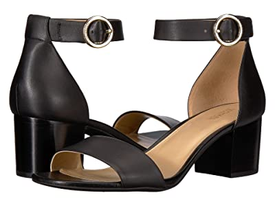MICHAEL Michael Kors Lena Flex Mid (Black Vachetta/Stacked Heel) High Heels