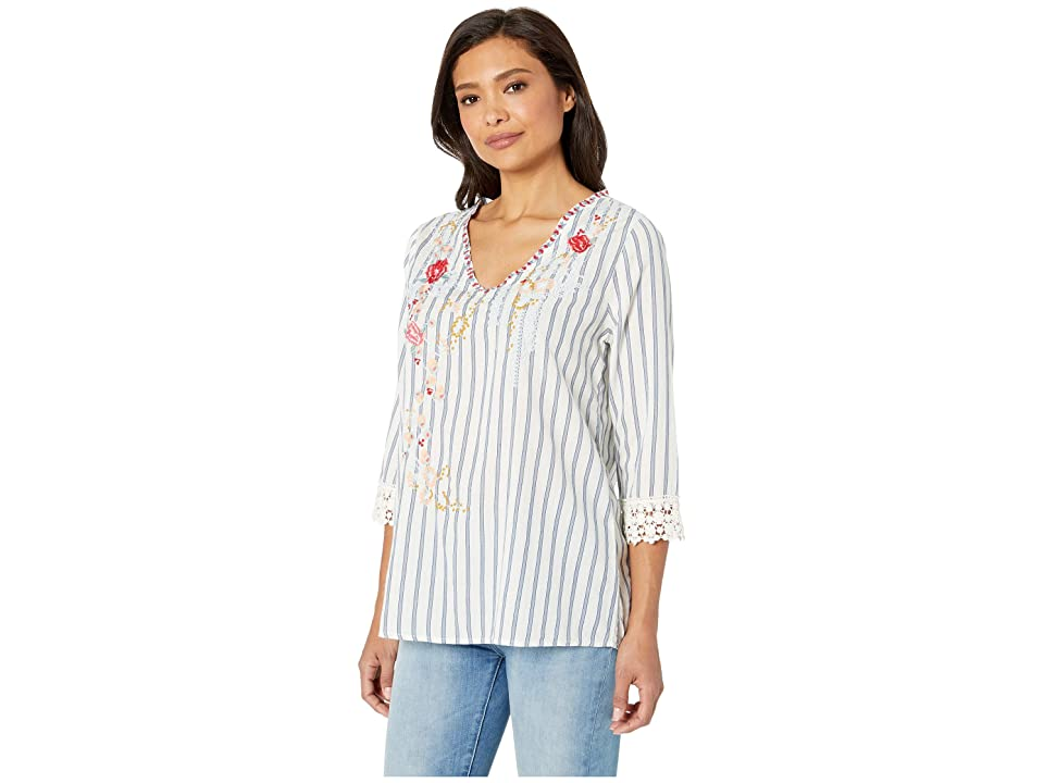 Dylan by True Grit Taylor Stripe Embroidery Top 3/4 Sleeve with Crochet Trim (Chambray/White) Women's Blouse