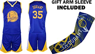 Durant Kids Basketball Jersey Shorts Set Youth Sizes Premium Quality Gift Set with Compression Shoorter Arm Sleeve