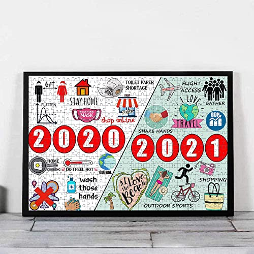 """Puzzles for Adults 1000 Piece - Past 2020 & Future 2021 - 2020 Events Jigsaw Puzzles, Wooden Puzzles for Adults, Stress Relief Educational Toy for Kids with Beautiful Packing Box, 29.5"""" x 19.7"""" (F1)"""