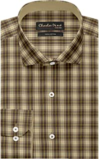Mens Brown Beige Checkered Shirt for Casual Formal WEAR 100% Giza Cotton Regualr FIT