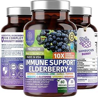 Premium Immune Support Booster, Powerful [10-in-1] Elderberry, Zinc, Vitamin C, E, B6, Echinacea, Garlic, Probiotic & Turmeric Blend. High Potency, Supports a Healthy Respiratory System, 60 Veg Caps