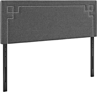 Modway Josie Linen Fabric Upholstered King Headboard in Gray with Nailhead Accents