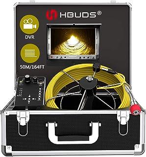 HBUDS Inspektionskamera mit DVR Recorder, 50m Industrielle Abwasserkamera IP68 Wasserdichtes Endoskop mit 7 Zoll LCD Monitor 1000TVL für Techniker/Mechaniker/Installateure (8G SD Karte enthalten)
