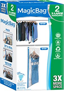 Smart Design MagicBag Hanging Instant Space Saver Storage - Extra Large - Double Zipper - Blocks Water, Dirt, Odors, Insects & Mildew - for Clothing, Pillows, More - Home Organization - (2 Bags)