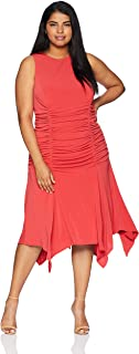 Maggy London Plus Size Women's Twill Knit Novelty Ruched Dress
