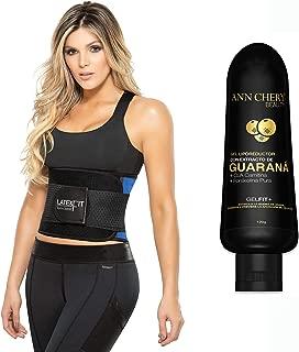 Ann Chery 2051 Latex Fit Waist Trimmer Belt Blue with Guarana Slimming Gel. Waist Trainer Girdle Faja Colombiana