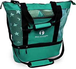 Red Suricata Mesh Beach Bag Cooler - Beach Tote with Leak-proof Rigid Cooler - Beach Bags for Women & Men (Turquoise Green)
