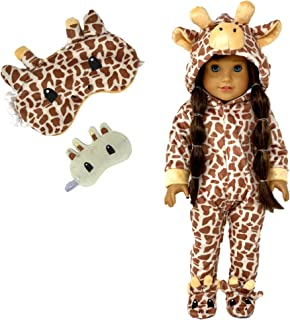 MY GENIUS DOLLS Clothes - Giraffe Onesie Pajama with Matching Sleepover Masks - Clothes for 18 inch Dolls Like Our Generat...
