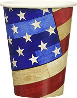 Old Glory Hot or Cold Drink Paper Cups Patriotic 4th of July Party Disposable Drinkware, 9 oz., Pack of 18.
