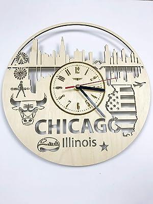 Skyline Chicago Illinois Wall Clock Wood Home Decor - Great Wall Art for Living Room Bedroom Kitchen for Men Women Kids Girlfriend Boyfriend - Silent Quarzt Mechanism