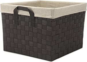 Whitmor Woven Strap Storage Tote Basket, W/Liner, Cream