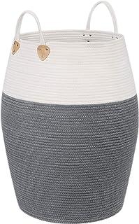 SONGMICS Panier à linge en corde de coton avec poignées - 125 L - Pour jouets, vêtements, couvertures, salon et chambre à ...