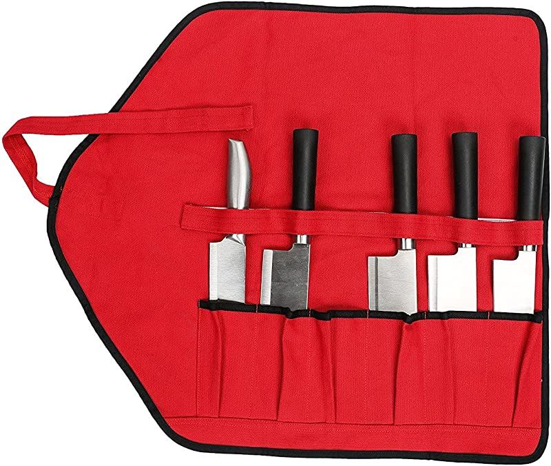 Canvas Chef S Knife Roll Bag With 6 Slots Multi Purpose Portable Essential Tool Bags Handmade And Sewn Knife Roll Storage For Culinary Student Or Professional Chef HGJ17 F US Red