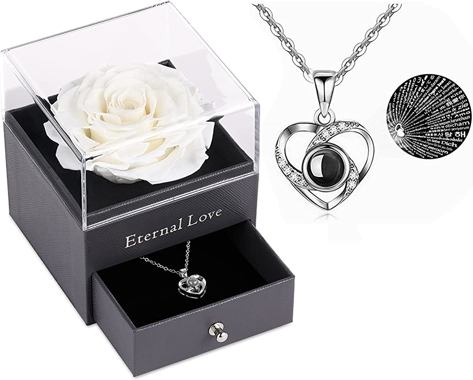 Preserved Real Rose with Silver-Tone Heart Necklace I Love You in 100 Languages Gift Set, Enchanted Real Rose Flower for Valentine's Day Anniversary Wedding Romantic Gifts for her (White)