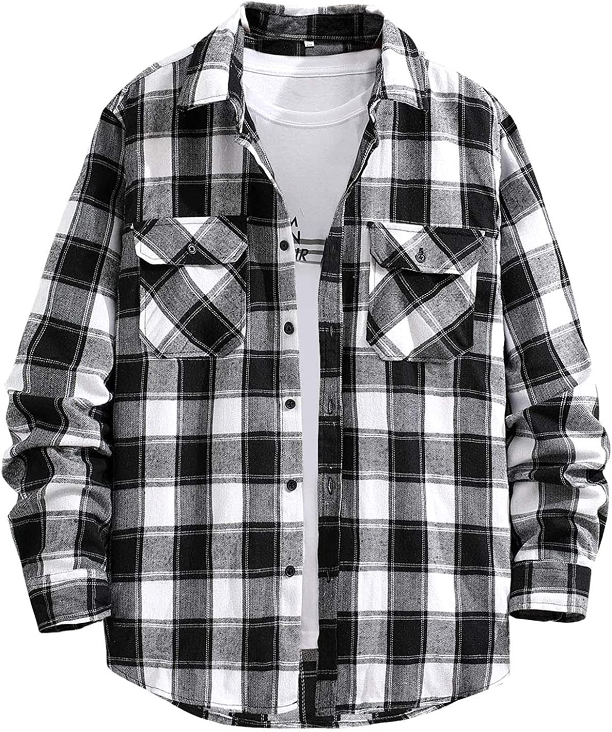UBST Checked Shirts for Mens, Fall Button Down Long Sleeve Plaid Brushed Loose Tops Thick Casual Shirt with Pockets