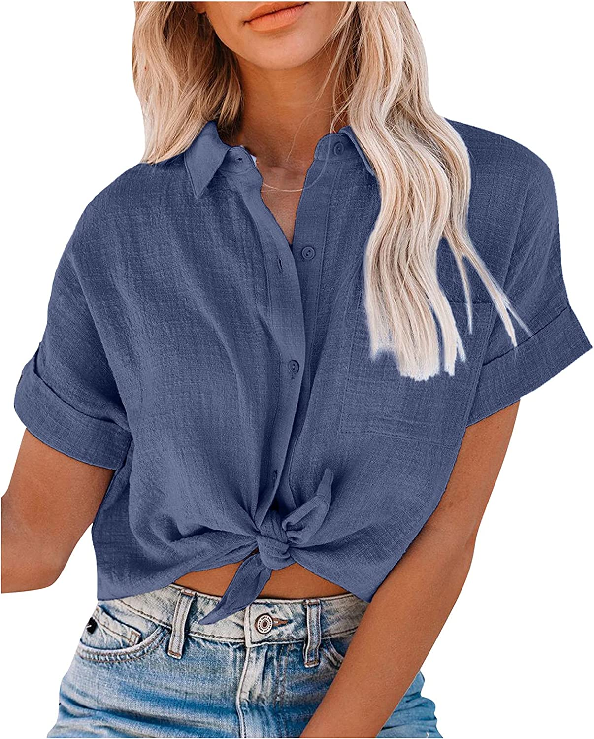 Womens Turn Down Collar Button Down Shirt Tops w/Front Pocket,Plus Size Short Sleeve Slim Blouse Tunic