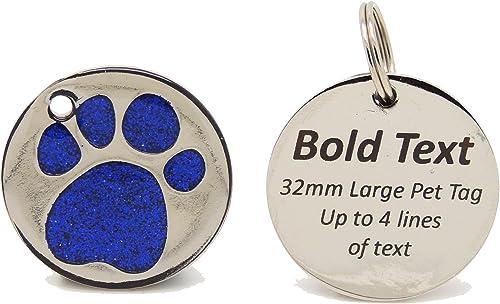 PERSONALISED ENGRAVED PET ID TAG BLUE LARGE LOOP DISC