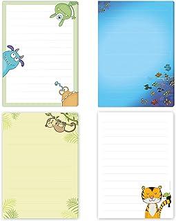 Tiger, 4 x briefpapier, vis, aap en monster, elk DIN A5 gelinieerd, met 50 vellen, eenzijdig bedrukt/briefpapier voor kind...