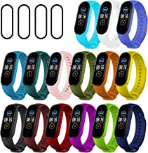 Ferilinso 15 Pack Straps Bracelet for Xiaomi Mi Band 5 + 4 Pack Flexible Film Screen Protector, Silicone Wristband Replace...