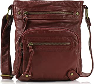 Small Crossbody Shoulder Bag for Women, Ultra Soft Washed Vegan Leather, H1693