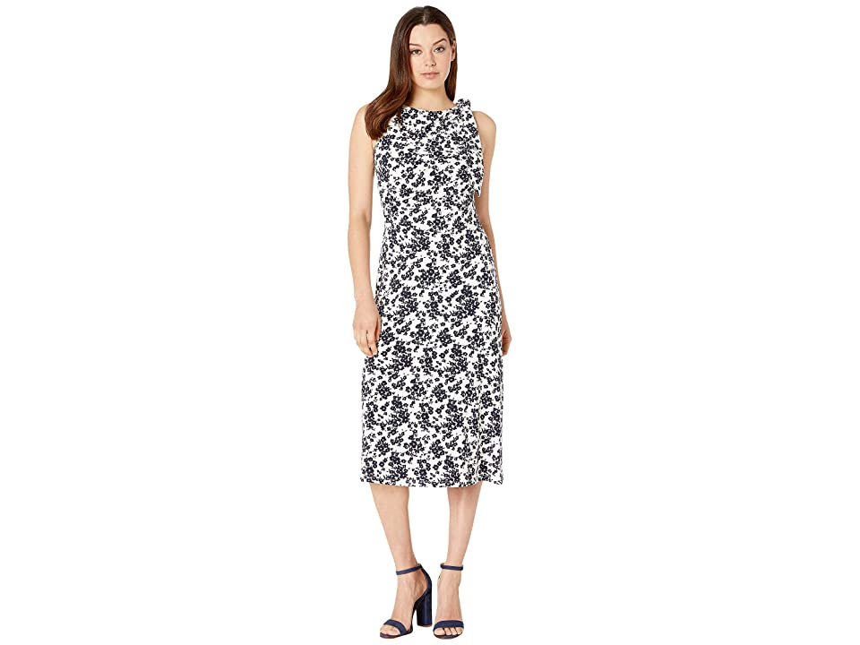 LAUREN Ralph Lauren Ellington Paplin Floral Dress (Colonial Cream/Lighthouse Navy) Women