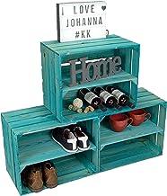 Kistenkolli Altes Land Zestaw 3 skrzynek na wino, Johanna, turkusowa, podłużna, na buty, owoce, drewniane skrzynki