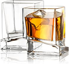 JoyJolt Carre Square Scotch Glasses, Old Fashioned Whiskey Glasses 10-Ounce, Ultra Clear Whiskey Glass for Bourbon and Liq...