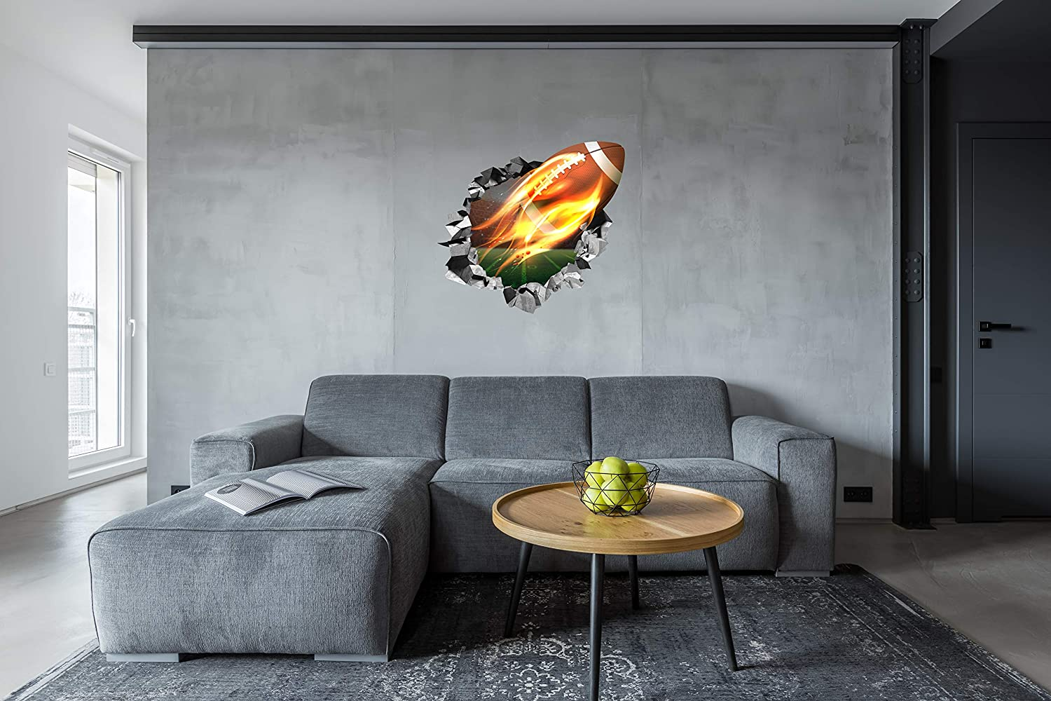 Decor for Boys and Kids Bedroom Mural Art 24x24 Break Through Image Flying Fire Basketball Self Adhesive and Removable Vinyl Sticker Study Room Customized For You Large 3D Wall Decal