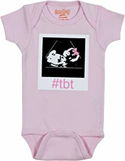 Sara Kety Funny Baby Romper Bodysuit #TBT Hashtag Throwback Thursday Sonogram for Baby Girls Pink …