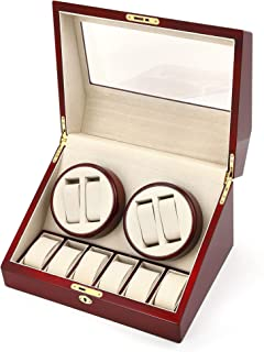 Kendal Quad Watch Winder Box, Automatic Watch Turner Case, Wood Watch Spinner with 6 Storage, Quality Japanese Motor Keep ...