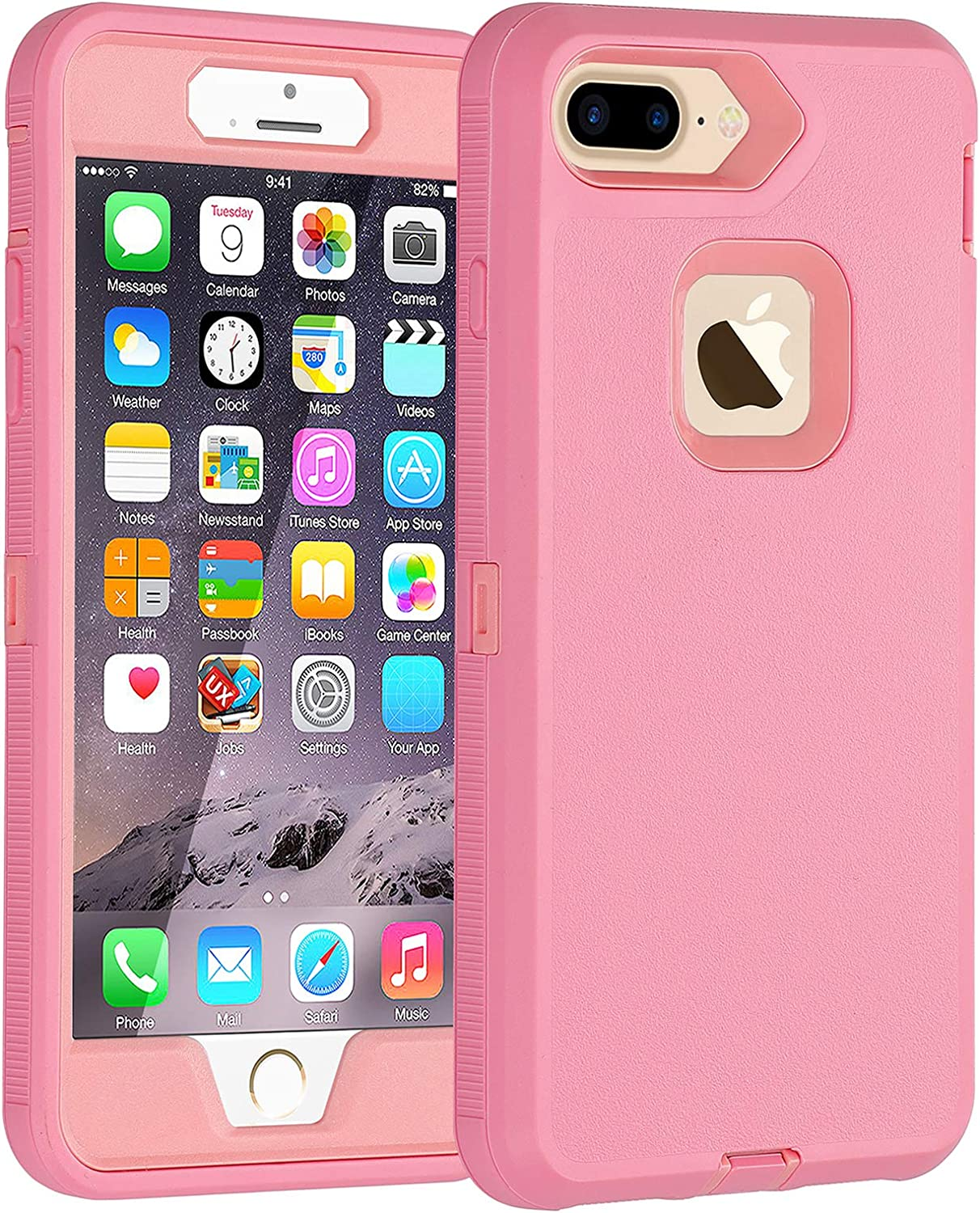 Co-Goldguard Case for iPhone 7 Plus/8 Plus Heavy Duty 3 in 1 Built-in Screen Protector Durable Cover Dust-Proof Shockproof Scratch-Resistant Shell Compatible with iPhone 7+/8+ 5.5,Pink