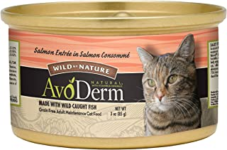 AvoDerm Natural Wild by Nature Chopped Salmon in Consomme Canned Wet Cat Food, 3 Ounce Cans, Case of 24