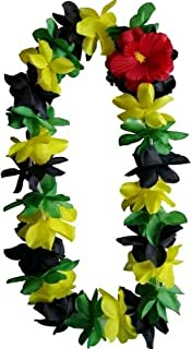Jamaica Lei Hawaiian Silk Flower Rose Lei Hula Luau Party Wedding Rasta Jamaican Tropical Colors Weed Leaf