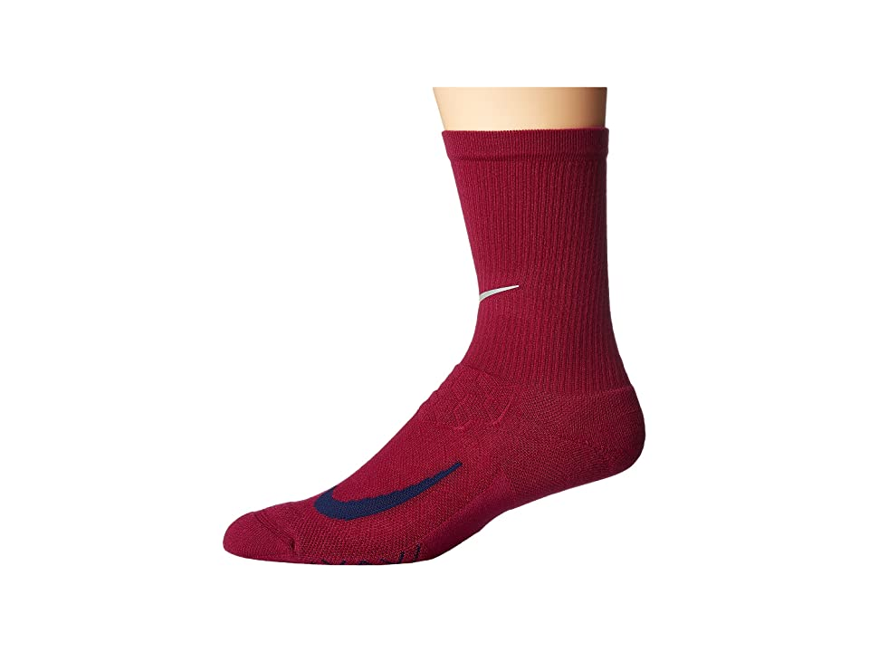 Nike Elite Running Cushion Crew Socks (True Berry/Binary Blue) Crew Cut Socks Shoes