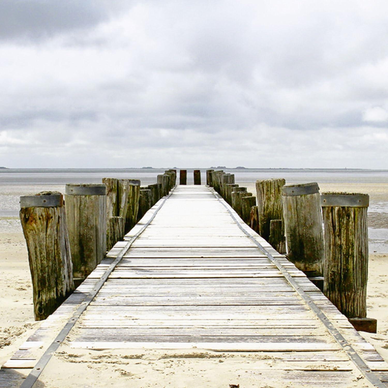 Artland Qualitätsbilder I Glasbilder Deko Glas Bilder 50 x 50 cm Landschaften Strand Foto Creme D8TW Steg ins Watt B00LCMOCFE