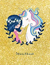 Sketchbook: Cute Unicorn for Girls on Golden Effect Background, 110 Pages, 8.5