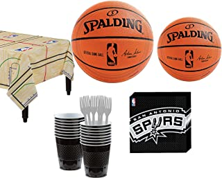 Party City San Antonio Spurs Party Kit 16 Guests, Includes Table Cover, Plates, Napkins and More