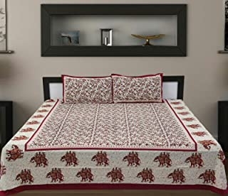 traditional mafia Floral Vine Collection 100% Pure Cotton Printed Double Bedsheet with 2 Pillow Covers, King, Red-Maroon/Multicolor