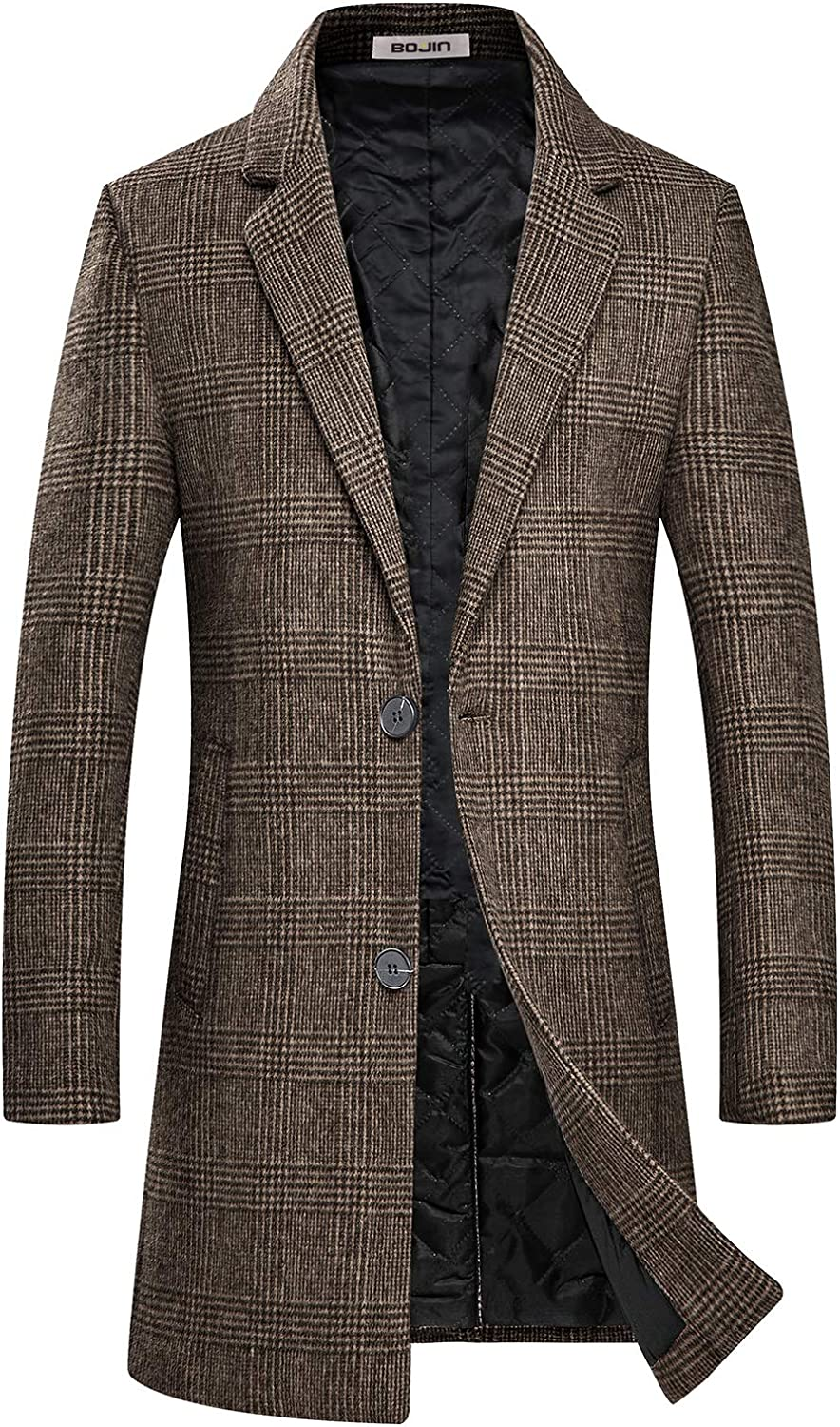 Mens Trench Coat Wool Blend Top Pea Coat Winter Long Single Breasted Classic Stylish Business Overcoat