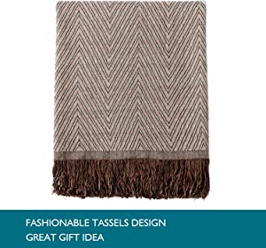 "JML Throw Blanket Soft Jacquard Organic Bamboo Cotton Throw Blanket for Couch Shawls and Wraps Cotton Blanket with Tassels for Bed Home Sofa Chair Travel Lap Summer Adult,50"" X 60""-Wave Pattern Brown"