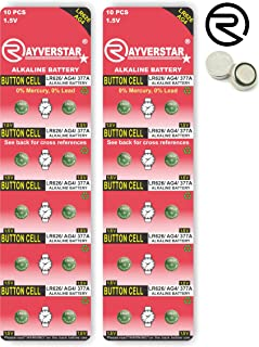 Rayverstar LR626 AG4 1.5V Alkaline, 20 Batteries Fits: 66, 606, 626, 376, 177, 377, GP377 (Full List Below)