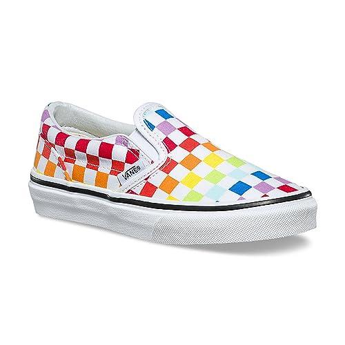 rainbow checkerboard vans shoes