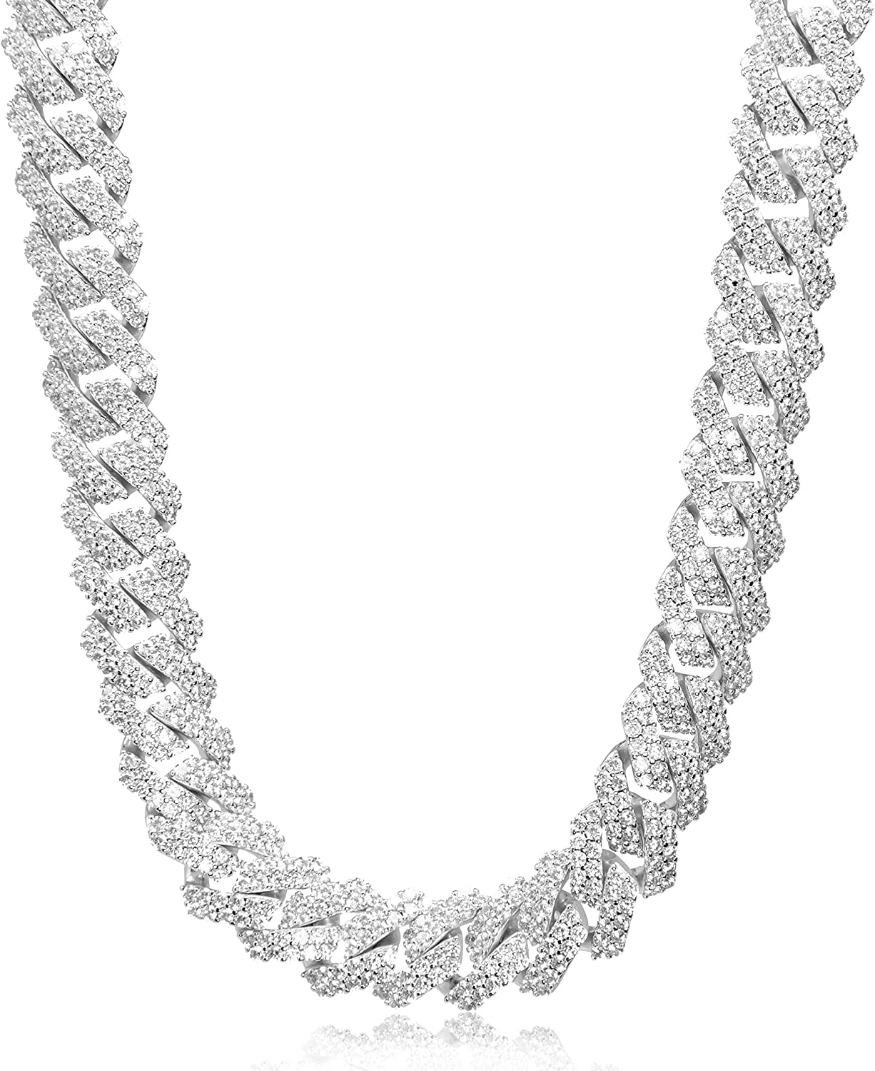 TRIPOD JEWELRY Classic 15mm Challenge the lowest price of Japan Full Iced Link Cuban Out Diamond Chain