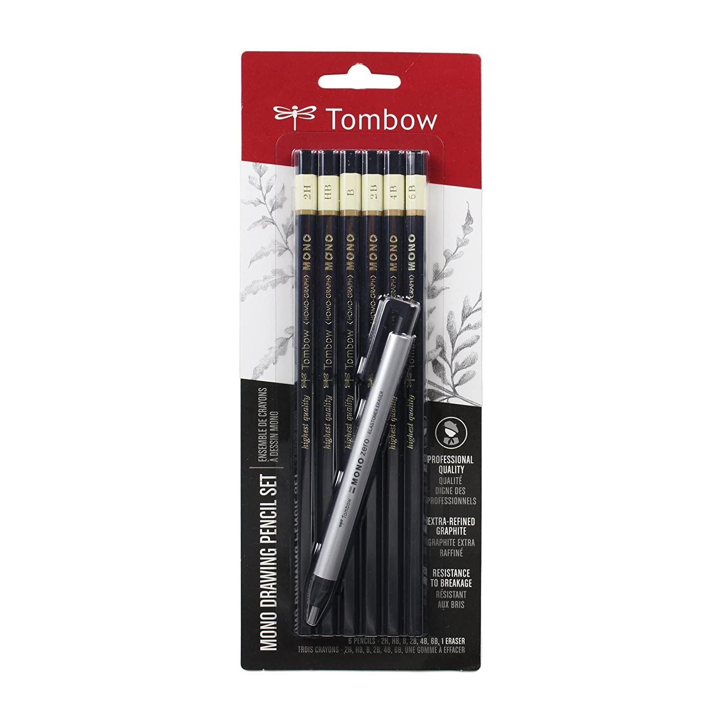 Tombow 61002 MONO Drawing Pencil Set, Combo 6-Pack. Professional Quality Graphite Pencil Set with Precision Zero Eraser