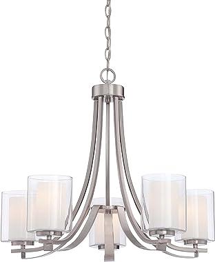 Minka Lavery Chandelier Pendant Lighting 4105-84, Parsons Studio Dining Room, 5 Light, Nickel