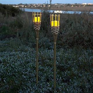 Lights4fun - Antorcha de Bambú para Jardín con Vela LED a