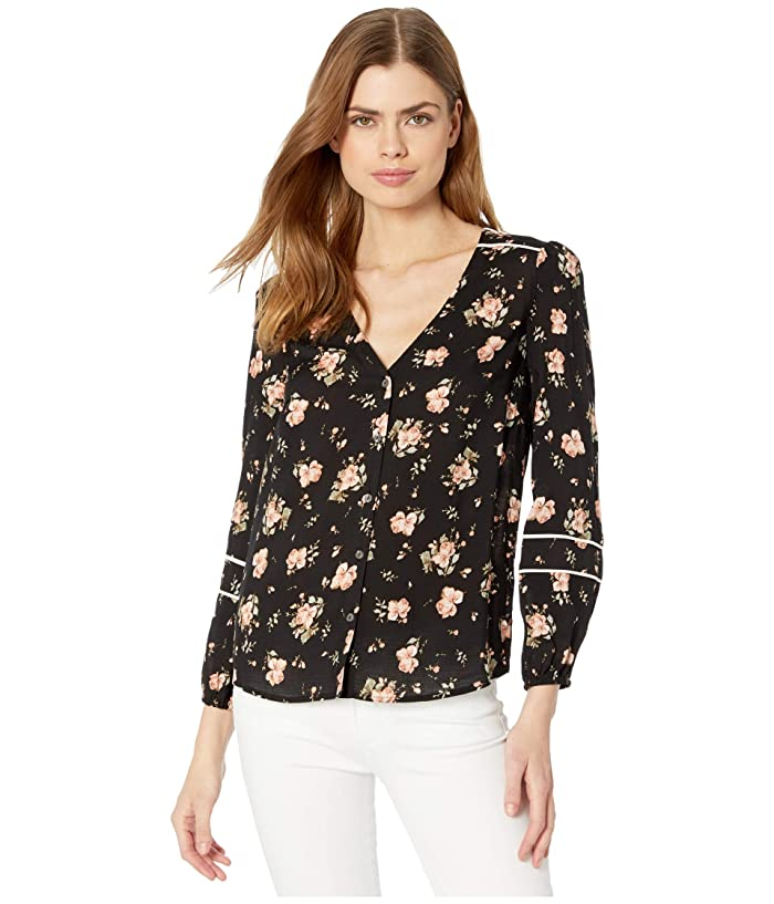 1.STATE  Long Sleeve Contrast Piped Festival Roses Blouse (Rich Black Festival Bloom) Womens Clothing